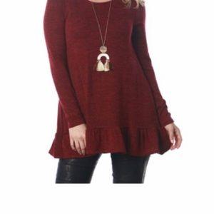 Sweaters - BURGUNDY - Long-sleeve Peplum / ruffle sweater